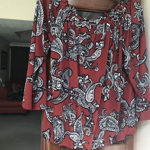 INC pullover blouse. Off the shoulder or on.